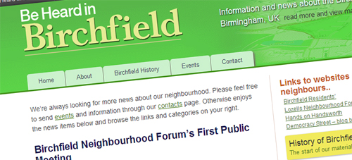 Screenshot: Be Heard in Birchfield website