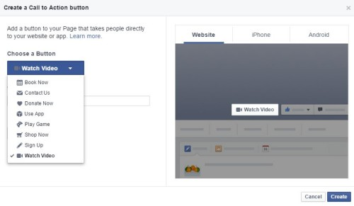 Add call to action facebook Pages