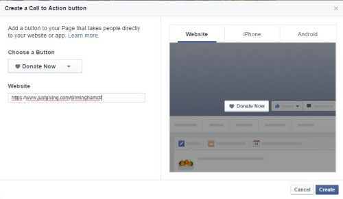 Create Donate Now Button Facebook Pages