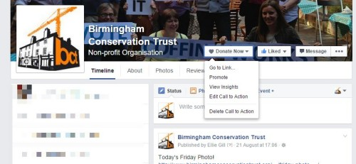 Facebook call to Action Donate now